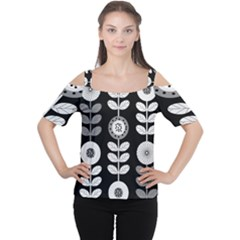 Floral Pattern Seamless Background Women s Cutout Shoulder Tee