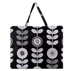 Floral Pattern Seamless Background Zipper Large Tote Bag