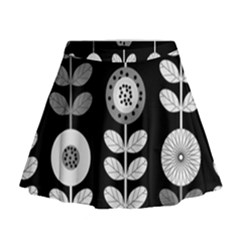 Floral Pattern Seamless Background Mini Flare Skirt