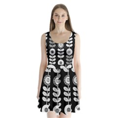 Floral Pattern Seamless Background Split Back Mini Dress