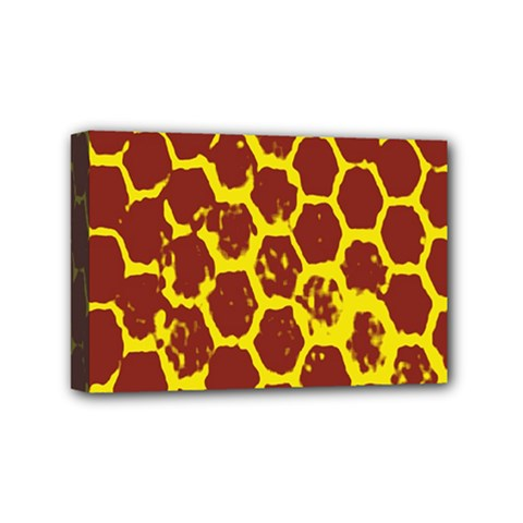 Network Grid Pattern Background Structure Yellow Mini Canvas 6  x 4