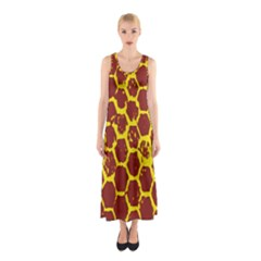 Network Grid Pattern Background Structure Yellow Sleeveless Maxi Dress