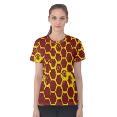 Network Grid Pattern Background Structure Yellow Women s Cotton Tee