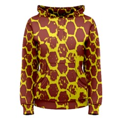 Network Grid Pattern Background Structure Yellow Women s Pullover Hoodie