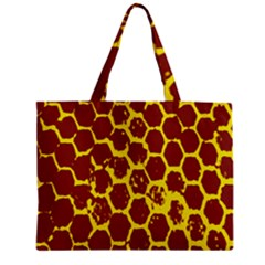 Network Grid Pattern Background Structure Yellow Zipper Mini Tote Bag