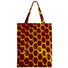Network Grid Pattern Background Structure Yellow Zipper Classic Tote Bag
