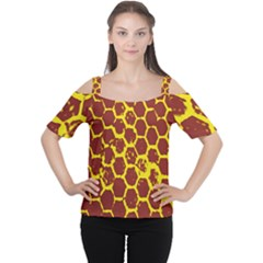 Network Grid Pattern Background Structure Yellow Women s Cutout Shoulder Tee
