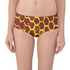 Network Grid Pattern Background Structure Yellow Mid Waist Bikini Bottoms