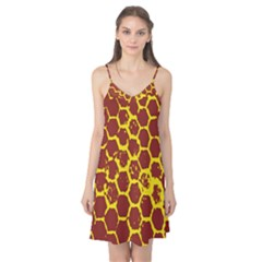 Network Grid Pattern Background Structure Yellow Camis Nightgown