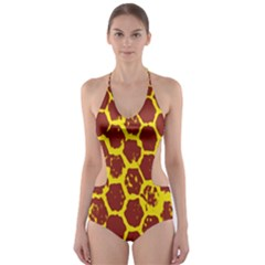 Network Grid Pattern Background Structure Yellow Cut-Out One Piece Swimsuit
