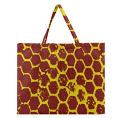 Network Grid Pattern Background Structure Yellow Zipper Large Tote Bag