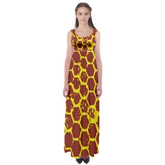 Network Grid Pattern Background Structure Yellow Empire Waist Maxi Dress