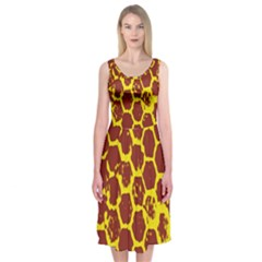 Network Grid Pattern Background Structure Yellow Midi Sleeveless Dress