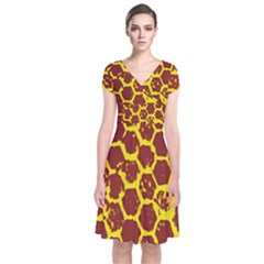 Network Grid Pattern Background Structure Yellow Short Sleeve Front Wrap Dress