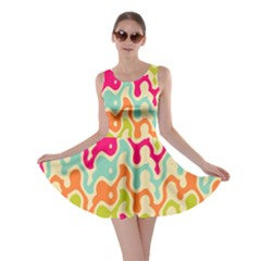 Abstract Pattern Colorful Wallpaper Skater Dress