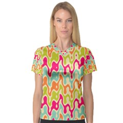 Abstract Pattern Colorful Wallpaper Women s V Neck Sport Mesh Tee