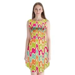 Abstract Pattern Colorful Wallpaper Sleeveless Chiffon Dress