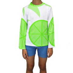 Fruit Lime Green Kids  Long Sleeve Swimwear