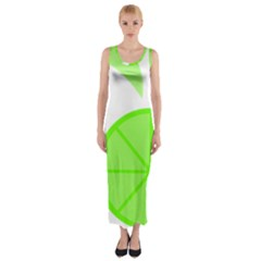 Fruit Lime Green Fitted Maxi Dress