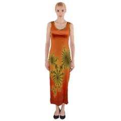 Decorative Fractal Spiral Fitted Maxi Dress