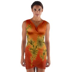 Decorative Fractal Spiral Wrap Front Bodycon Dress