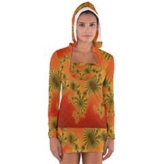 Decorative Fractal Spiral Women s Long Sleeve Hooded T-shirt