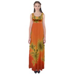 Decorative Fractal Spiral Empire Waist Maxi Dress