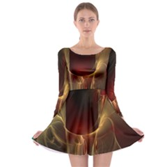 Fractal Image Long Sleeve Skater Dress
