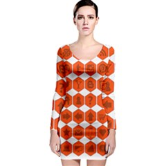 Icon Library Web Icons Internet Social Networks Long Sleeve Bodycon Dress