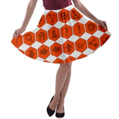 Icon Library Web Icons Internet Social Networks A-line Skater Skirt
