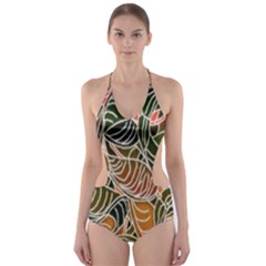 Floral Pattern Background Cut-Out One Piece Swimsuit
