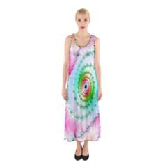 Decorative Fractal Spiral Sleeveless Maxi Dress
