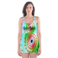 Decorative Fractal Spiral Skater Dress Swimsuit