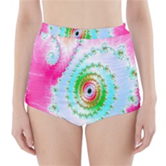 Decorative Fractal Spiral High-Waisted Bikini Bottoms