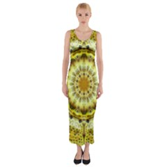 Fractal Flower Fitted Maxi Dress