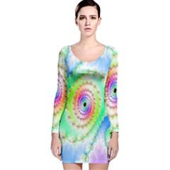 Decorative Fractal Spiral Long Sleeve Velvet Bodycon Dress