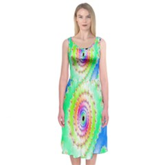 Decorative Fractal Spiral Midi Sleeveless Dress