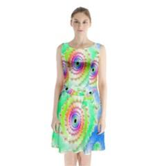 Decorative Fractal Spiral Sleeveless Chiffon Waist Tie Dress