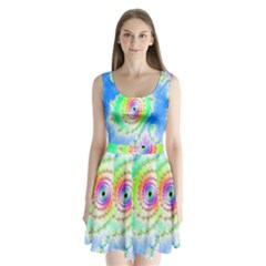 Decorative Fractal Spiral Split Back Mini Dress