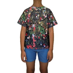 Colorful Abstract Background Kids  Short Sleeve Swimwear