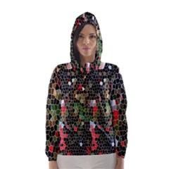 Colorful Abstract Background Hooded Wind Breaker (women)