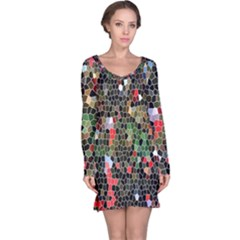 Colorful Abstract Background Long Sleeve Nightdress