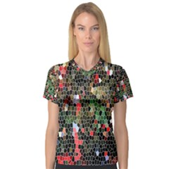 Colorful Abstract Background Women s V-Neck Sport Mesh Tee