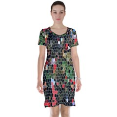 Colorful Abstract Background Short Sleeve Nightdress
