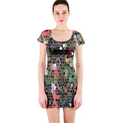 Colorful Abstract Background Short Sleeve Bodycon Dress