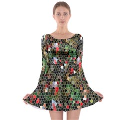 Colorful Abstract Background Long Sleeve Skater Dress