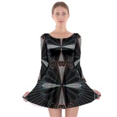 Fractal Rays Long Sleeve Skater Dress