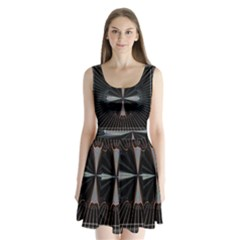 Fractal Rays Split Back Mini Dress