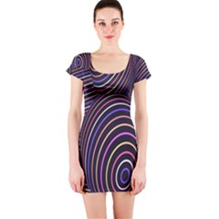 Abstract Colorful Spheres Short Sleeve Bodycon Dress