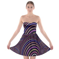 Abstract Colorful Spheres Strapless Bra Top Dress
